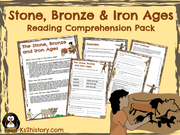 Stone, Bronze & Iron Ages Reading Comprehension Pack