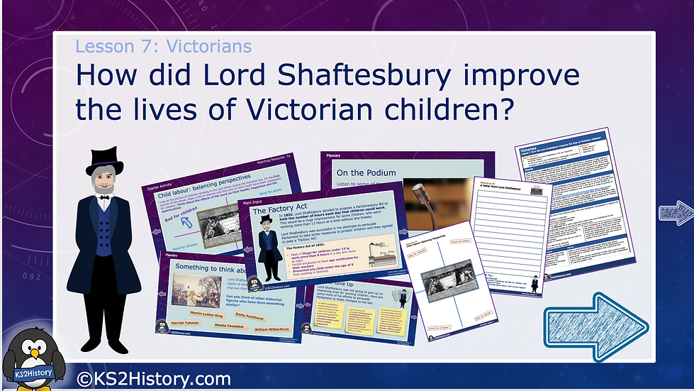 7. How did Lord Shaftesbury improve the lives of Victorian children?
