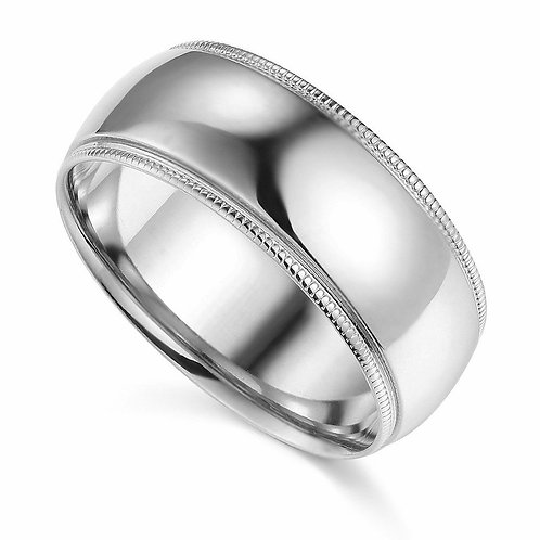 14k White Gold 8-mm Comfort-fit Milgrain and polished Wedding Band