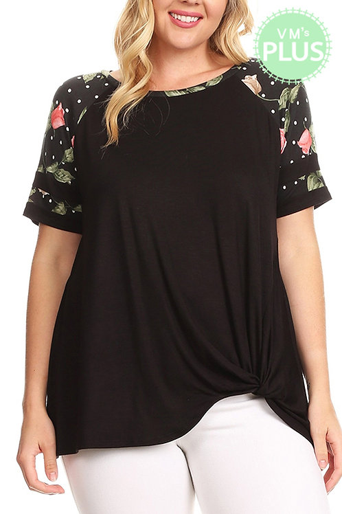 PLUS SIZE FLORAL CONTRAST SLEEVES