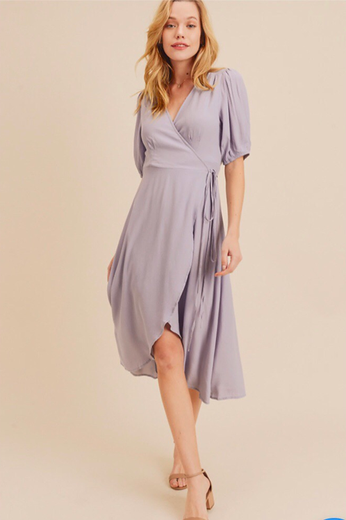SMOCK DETAIL WRAP DRESS