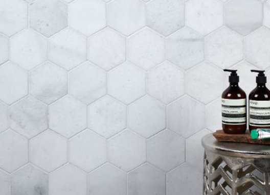 Long Island Marble Honed Large Hexagon Mosaic