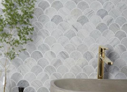 Silver Blue Limestone Scallop Mosaic