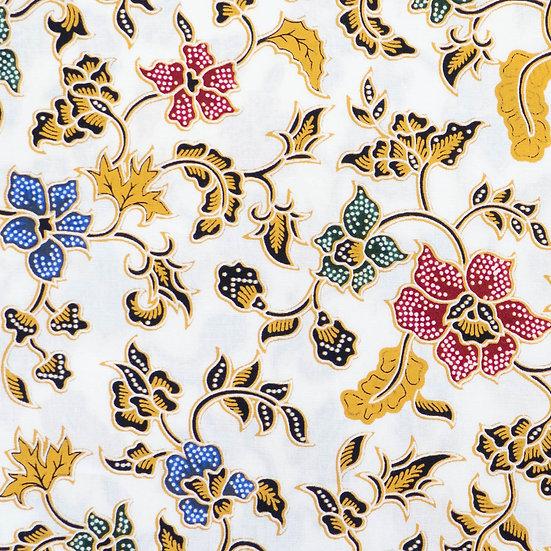 B13 Floral Brooch Batik Print in White