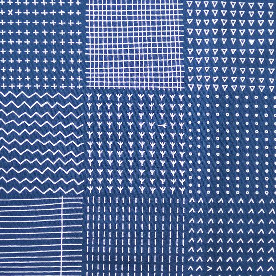 J42 Line Patchwork Print on Dark Blue