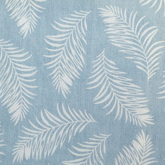 F74 Palm Leaves in Denim