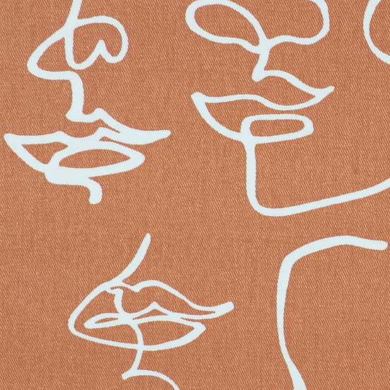J68 Abstract Faces in Burnt Caramel