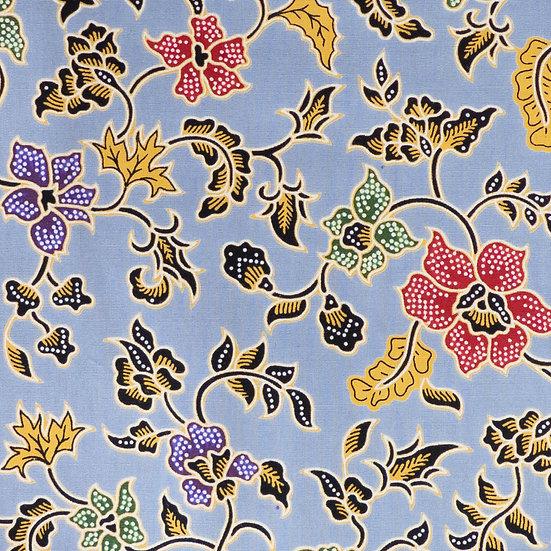 B14 Floral Brooch Batik Print in Dusty Blue