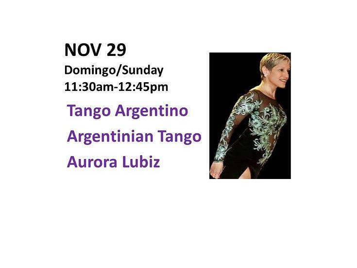 Nov 29 - Tango Argentino Argentinian Tango with Aurora Lubiz