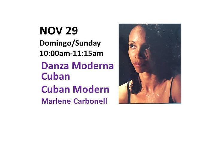 Nov 29 - Danza Moderna Cuban Cuban Modern Dance