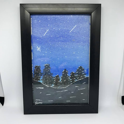 Watercolour forest at night
