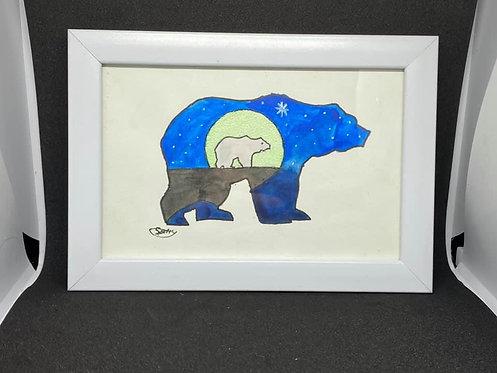 Watercolour bear silhouette