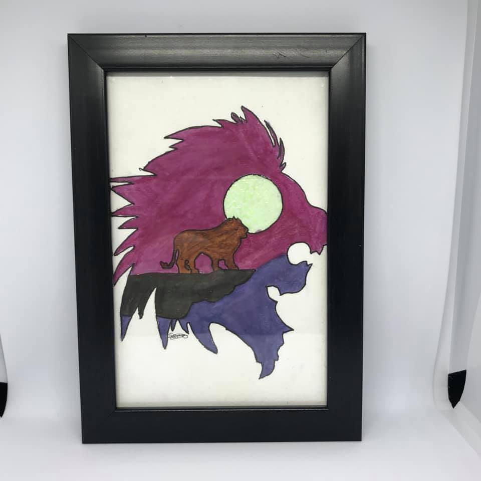 Watercolour lion painting