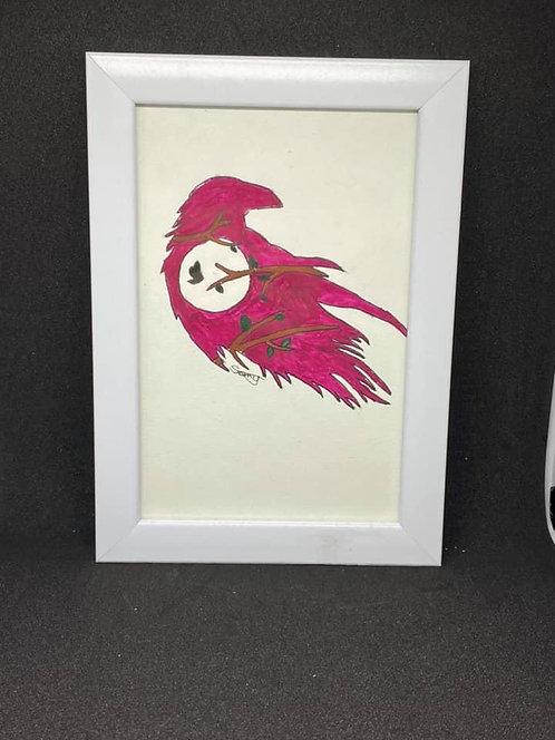 Watercolour bird silhouette
