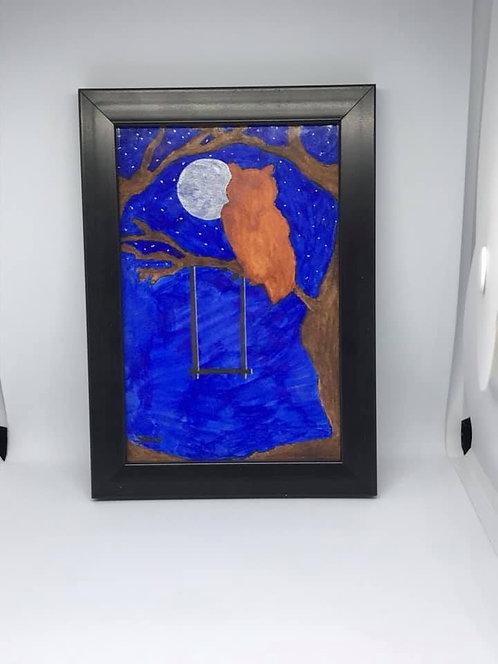 Moon watching owl