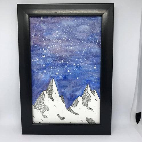 Watercolour mountains