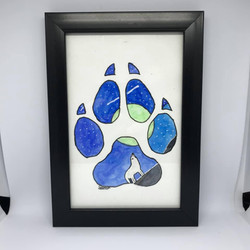 Watercolour wolf paw print painting