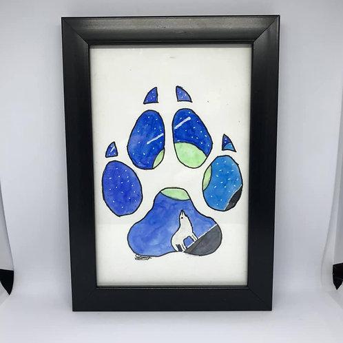 Watercolour wolf paw print