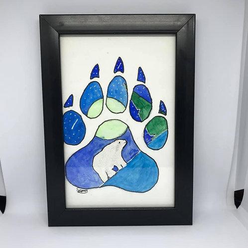 Watercolour bear paw print