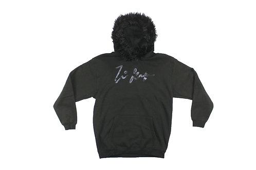 Black Fur Pullover Hoodie