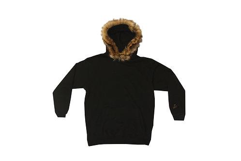 Original Brown Fur Black Pullover Hoodie