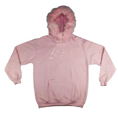 Pink Fur Pullover Hoodie