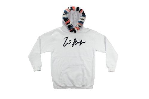 Original Stripe Fur Pullover Hoodie