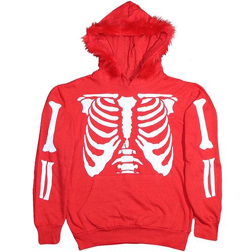 Red Skeleton Fur Hoodie