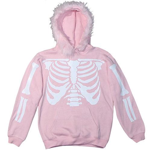 Pink Skeleton Fur Hoodie