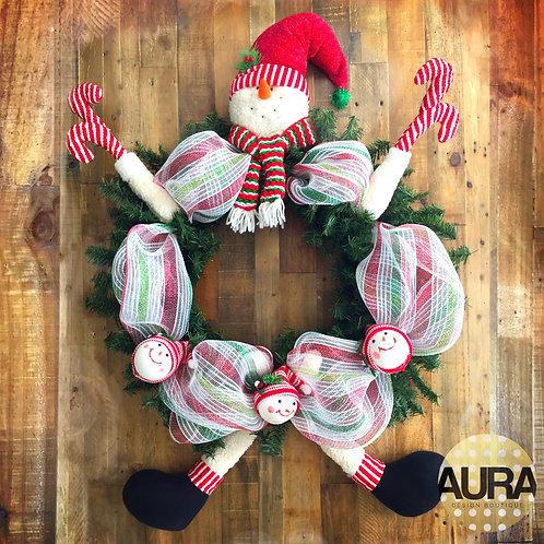 Snowman Candy Cane Wreath
