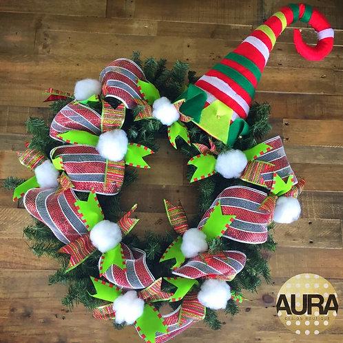 Snowball Cheerful Elf Hat Wreath