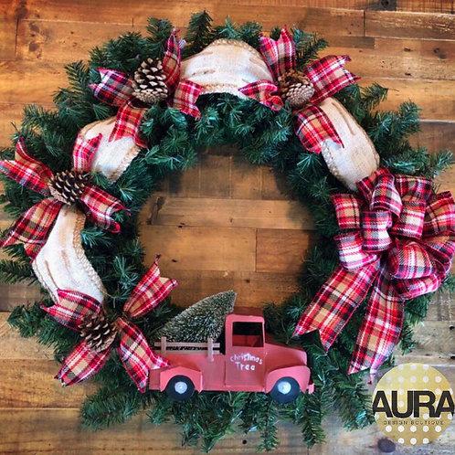 Fire Truck Plaid Wreath
