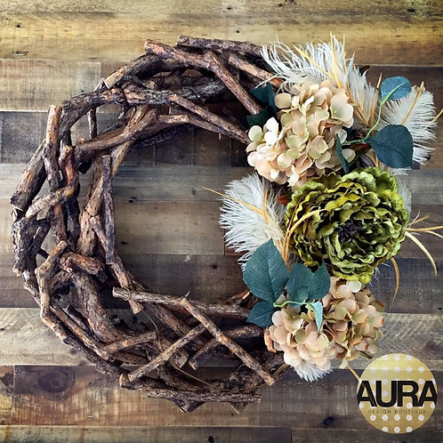 Birch Wood Feathered and Floral Wreath