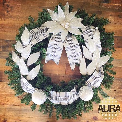 White Plaid Floral Wreath
