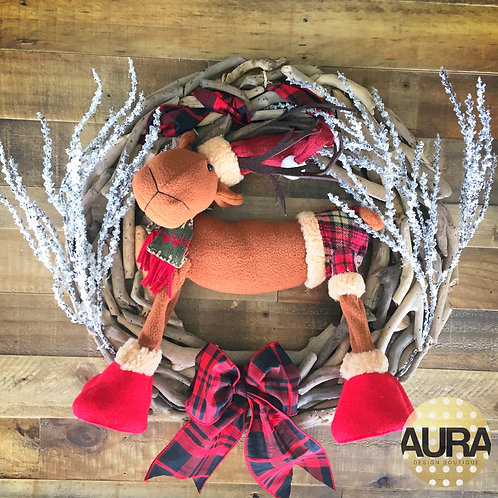 Plaid Reindeer Driftwood Wreath