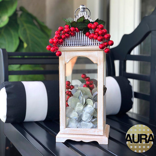 White Wooden Holiday Berry Lantern