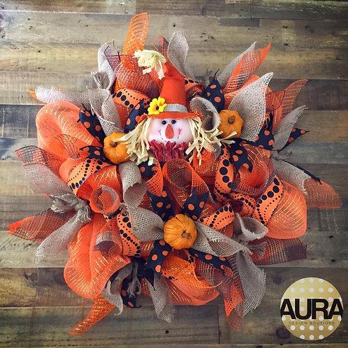Custom Scarecrow Fall Wreath