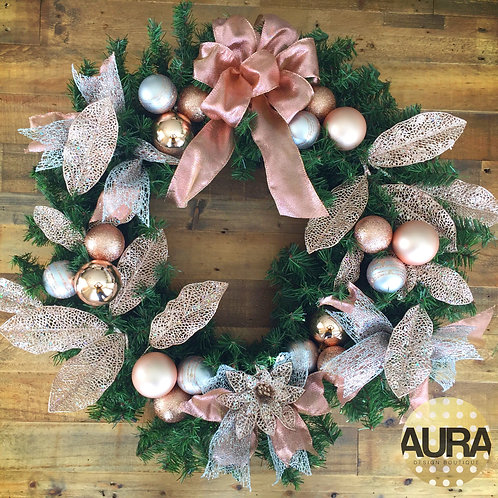 Elegant Rose Gold and Silver Wreath
