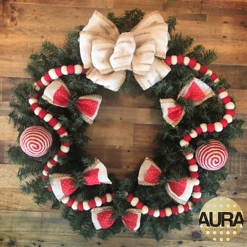 Red and White Wool Garland Wreath