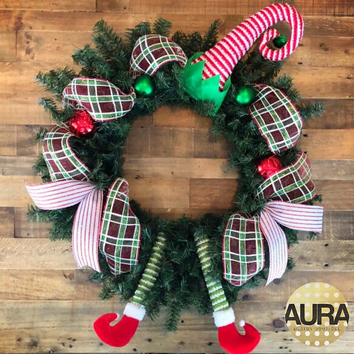 Elf Plaid Playful Wreath
