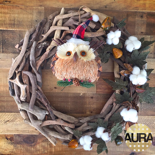 Who Who Owl Driftwood Wreath