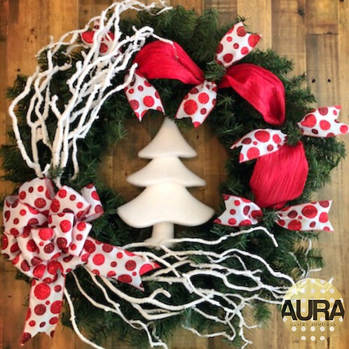 Snowy Holiday Tree Wreath