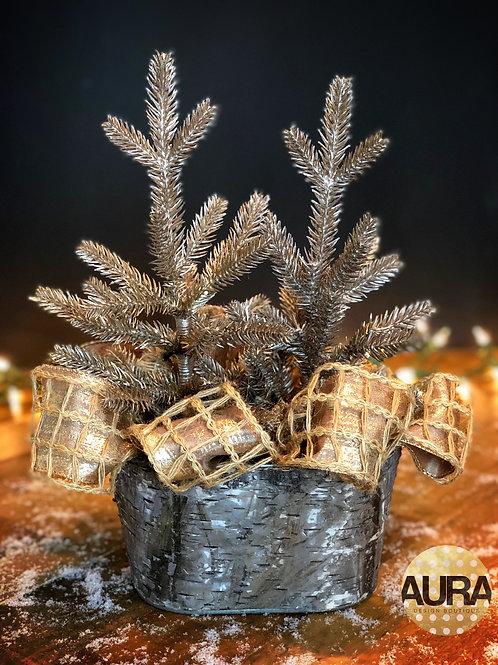 Birch Wood Holiday Pewter Centerpiece
