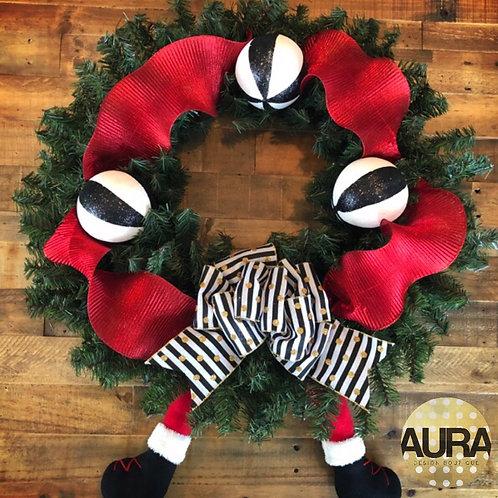 Santa Striped Ribbon Wreath