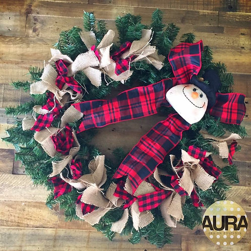 Frosty's Plaid and Burlap Wreath