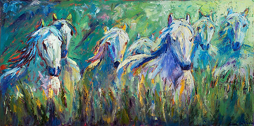 Camargue Horses 18x30 (Sold)