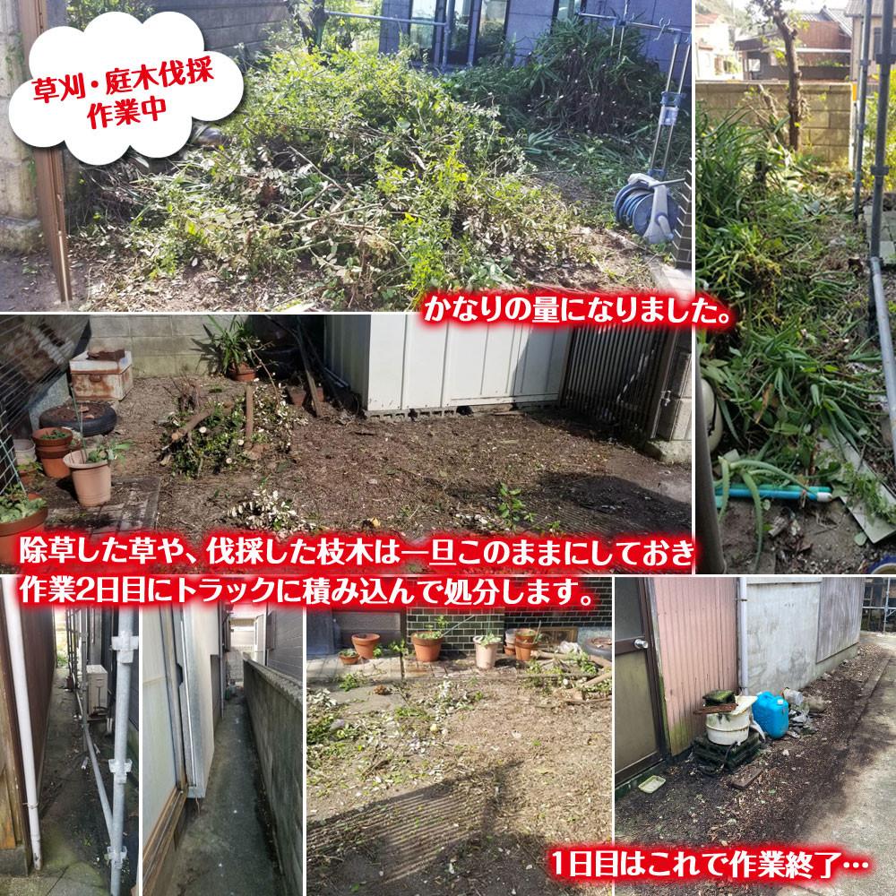 便利屋和歌山 和歌山市 作業1日目 草刈 庭木の伐採