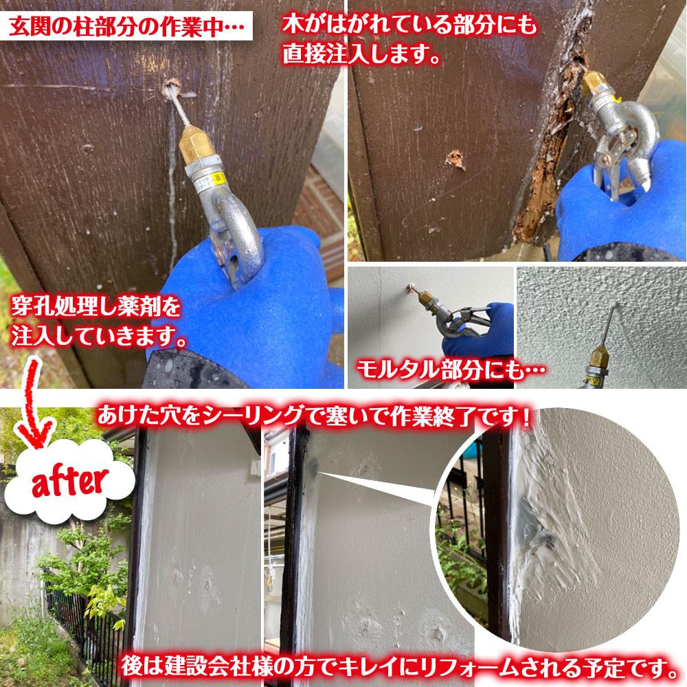 便利屋和歌山 兵庫県  外壁 シロアリ駆除消毒作業中と作業後