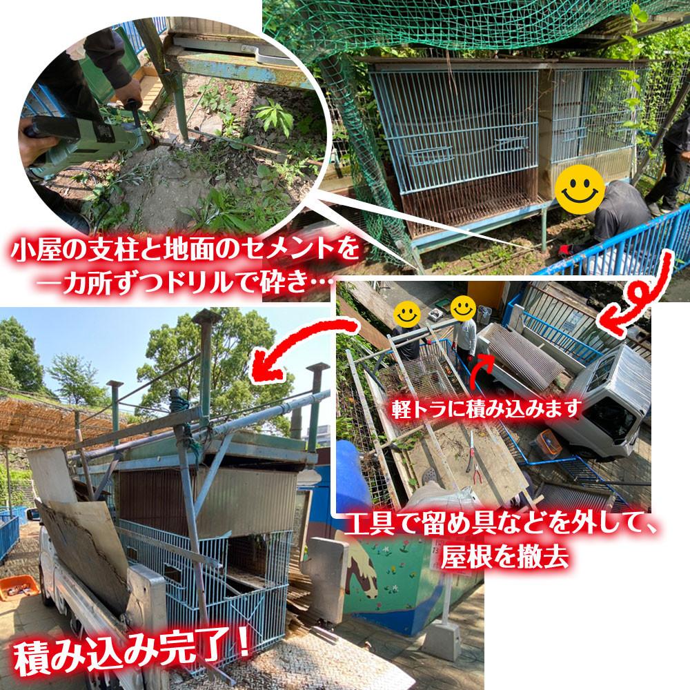 和歌山城公園動物園 鳥小屋撤去作業中