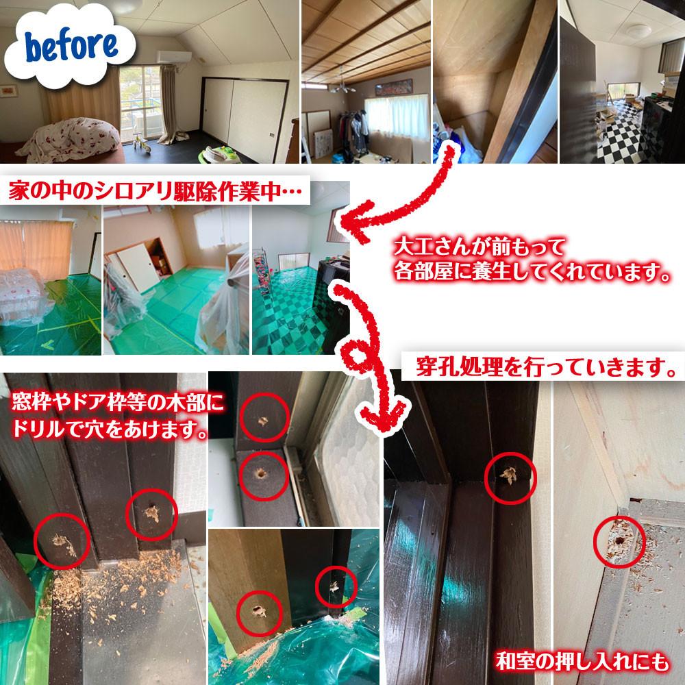 便利屋和歌山 兵庫県 家の中 シロアリ駆除消毒作業前後